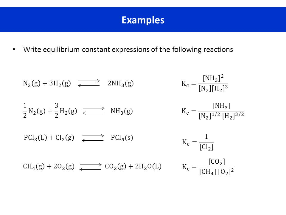 Examples Write equilibrium constant expressions of the following reactions. K c = [NH 3 ] 2 N 2 [ H 2 ] 3.